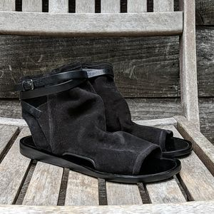 Vince Black Suede Ankle Sandal Booties